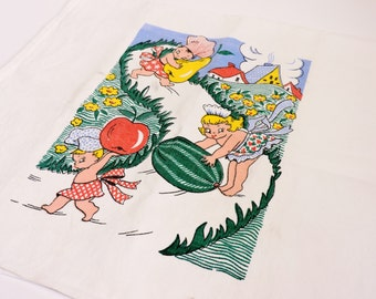 Retro Tea Towel, Vintage Flour Sack Dish Drying Hand Towel, Pixie Children Carrying Fruit, Pear, Watermelon, Apple itsyourcountry