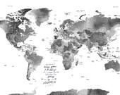 Gray worldmap, 20X30 Inches, World Travel, Honeymoon, Vacation Art, Travel Map, Wedding guestbook, Gift for traveler