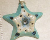 Hanging Starfish Garden Ornament, Handmade Porcelain, Sea and Sand, Beach Theme, Bathroom Accessory