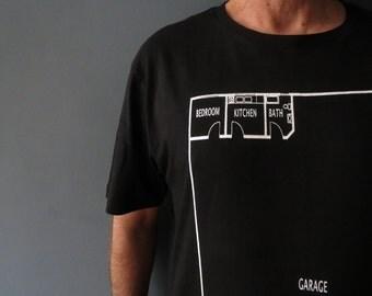 Mens Black T Shirt Garage Man Cave Architectual House Plan Large