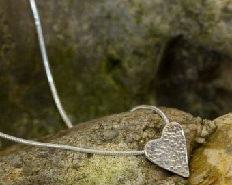 My hammered heart necklace