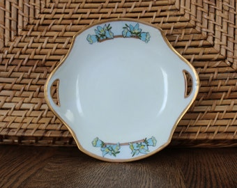 Vintage RS Royal Silesia Tillowitz Cake Plate With Blue Bells