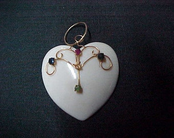 Vintage White Jade Heart Pendant, 24MM, 4 Gemstones 2MM each, 14K Y/G Wiring & Bail