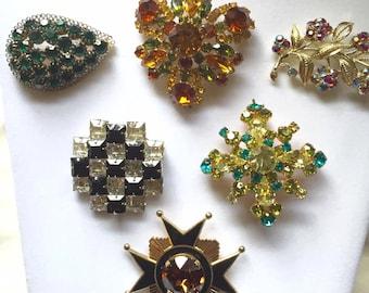 Vintage BROOCH Pin Lot RHINESTONE Carnegie AUSTRIA Accessocraft Lisner & More