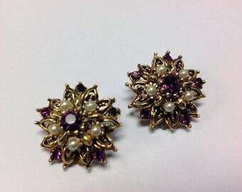 Vintage Star Earrings Clip On Amethysist Pearl Gold Tone