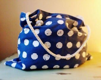 Blue and White Polka Dot Spot Tote Bag Yacht Line Handle