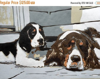 Spoiled and Rotten, handmade woodblock print of Springer Spaniels
