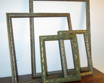 Art Deco Wooden Picture Frames Embossed Set of 4 Home Decor