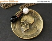VALENTINE SALE Pirate's Coin Necklace. Goth Necklace. Bronze Skull Necklace with Black Teardrop and Fresh Water Pearl. Halloween Jewelry. Ha