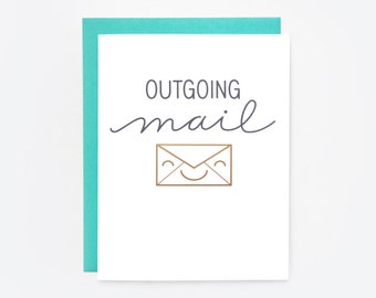 "Gold Foil ""Outgoing Mail"" Greeting Card"