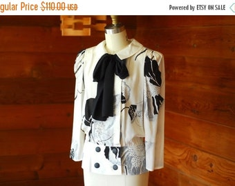 20% OFF FALL SALE / vintage Louis Feraud black and white floral print silk blouse / size small medium