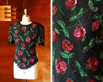 20% OFF FALL SALE / vintage red rose silk and sequin blouse / size medium