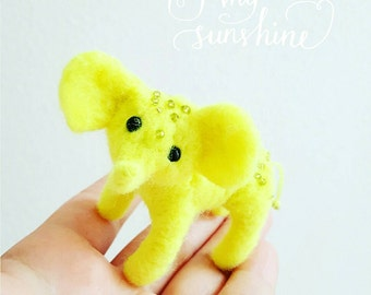 Miniature elephant, needle felted animal sculpture, tiny elephant, dollhouse toy, curio collectors, fashion doll pet, neon yellow, bright