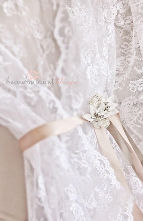 Lace Bridal Robe Getting Ready Robe Wedding Boudoir Lace Robe Lingerie Lace Kimono Crystal Rhinestone Sash Bridal Lingerie