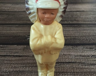 Vintage 1950s Miniature Figurine Indian Cheif Plastic Toy Doll Native American in Headress Action Figure