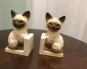 ceramic siamese cat bookend pair japan
