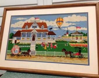 LARGE cross stitched farm house country scene matted and framed