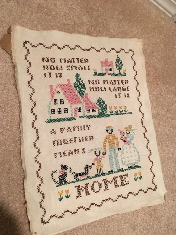 Embroidery sampler vintage family together means home rustic