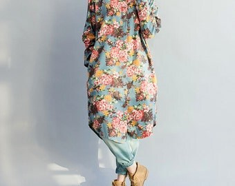 Romance long dress shirt/ light blue/ dark blue