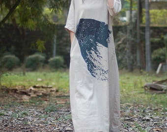 Linen Color Oversize Plus size Loose Fitting long dress