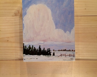Trees and Snow by a Field 8x10""