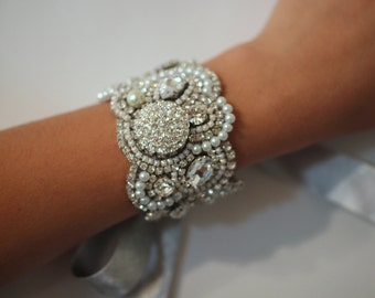 Pearl Rhinestone with Ribbon Tie or Sterling Silver Clasp Your Choice, Original Cuff Breacelet