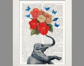 Elephant Elefant in love Elephant Art Trumpeter Butterflies Flowers Dictionary Art  giclee print poster art painting wall decor
