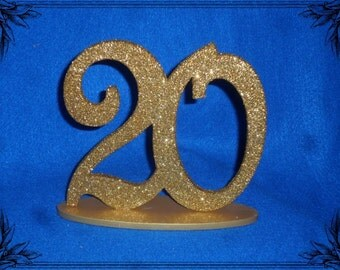 """Wedding table numbers - 6"""" Table Numbers set 1-10 oval base - Glittered Numbers Painted Bases - Wooden table Numbers"""