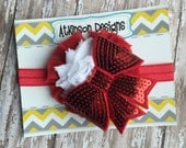 Red and White Sequin Bow Headband- Valentines Headband- Newborn/Infant/Toddler/Adult - Photography Prop- Ready to ship