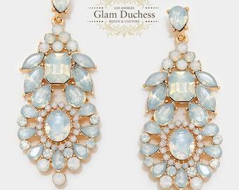 Bridal jewelry, Bridal earrings, Wedding jewelry, wedding earrings, gold crystal earrings, White opal earrings,prom jewelry,evening earrings