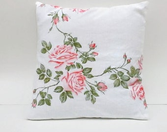 Pink Roses Upcycled Accent Throw Floral Pillow Cover Sustainable Home Decor  18 X 18 Square Inches