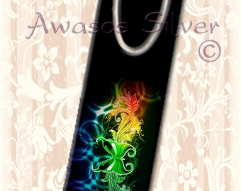Metal bookmark with high quality printed original images. Rainbow Butterfly with floral patterns on black
