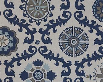 Navy Blue Curtains, Rosa Indigo Laken Valance, Custom Drapes, Pair Drapery Panels 24W or 50W x 63, 84, 90, 96 or 108L Premier Prints