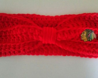 Crocheted Chicago Blackhawks Headband