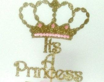 Centerpiece wording, cake topper, it's a princess, gold glitter