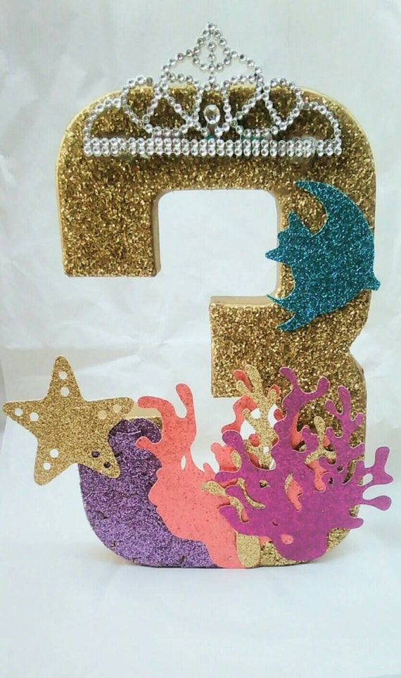 Mis 3 a os birthday centerpiece glitter number glitter for Glitter numbers for centerpieces