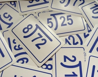 Set of 10 vintage Flash Cards Division Math Numbers White Blue KG05 Back to School
