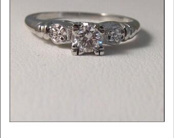 Antique Deco Platinum .25 ct Diamond Engagement Ring with gorgeous rosette shoulders