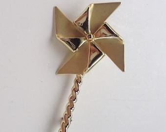Gold Toned Spinning Pinwheel VINTAGE Brooch