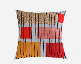 """Decorative pillow case, Grey Upholstery fabric with Red, Ochre, Black decoration Throw pillow case, fits 18"""" x18"""" insert, Cushion case."""