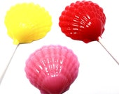 12 OPAQUE CLAM SHELL Lollipops - Hard Candy