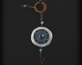 Ocean Moon Mandala Cognac - long necklace with turquoises BOHO
