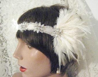 FLAPPER HEADBAND Gatsby 1920's headpiece 1920's headband gatsby headband hair accessory feather headband  bridal accessory silver IVORY
