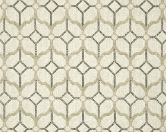 "Two  96"" x 50""  Custom Curtain Panels - Rod Pocket Panels -  Geometric Trellis - Grey Beige Ivory"