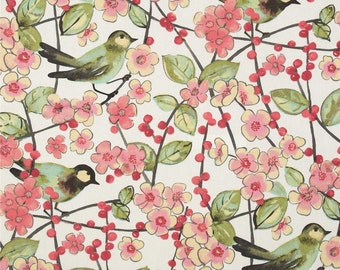 "Two  96"" x 50""  Custom  Curtain Panels - Birds Leaves Floral  -  Yellow/Turquoise/Pink/Coral/Grey/Kiwi"