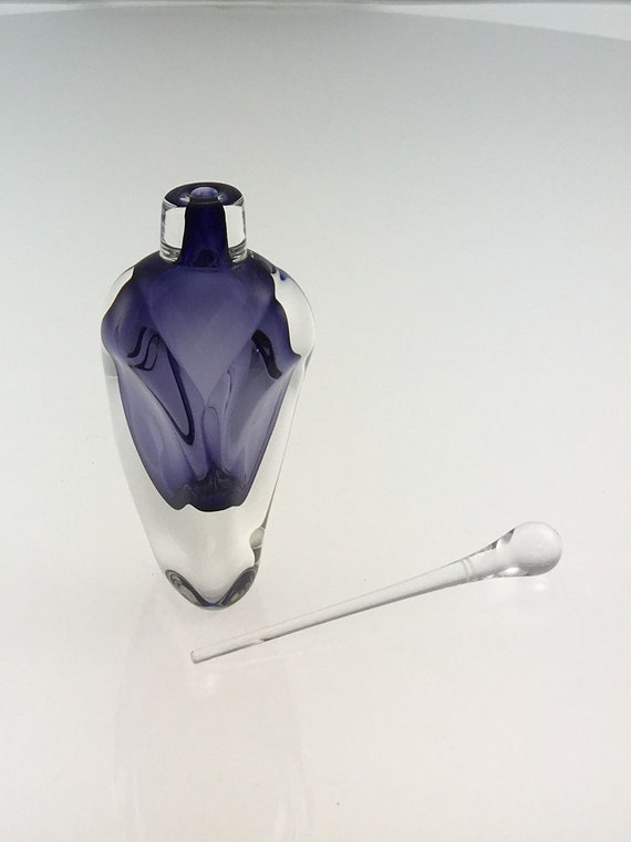 Hand Blown Glass Perfume Bottle - Violet Overlay  by Jonathan Winfisky