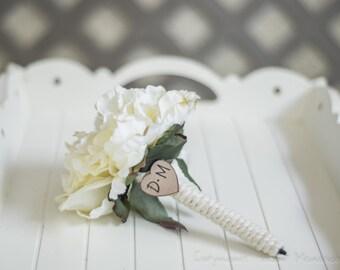 Burlap Guest book pen select flower showing cream  flower peony pen