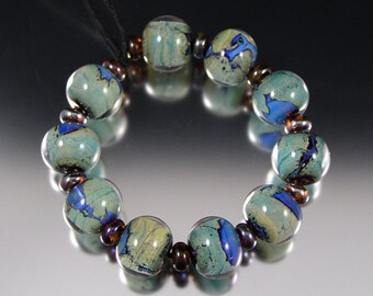Hidden Lakes - Handmade Lampwork Bead Set by That Bead Girl - SRA Blue Green Gold