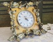 Ornate Globe Alarm Clock - Gold Leaves - Vintage Clock
