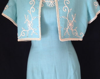 Vintage 1950s NOS Embroidered Dress with Matching Bolero
